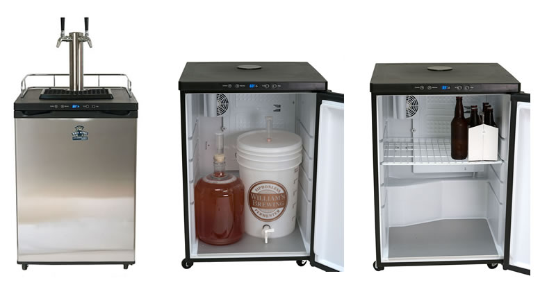 keg king series 4 dual tap kegerator u2013 large interior space for fermenting or converts to normal with racks