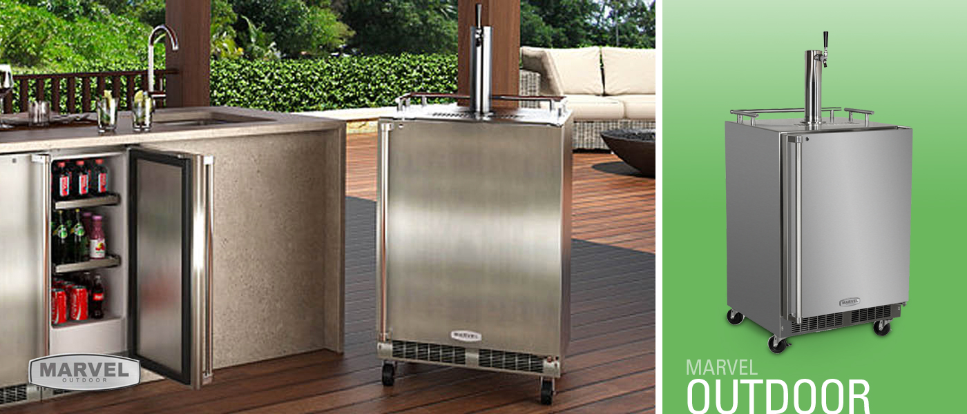 Marvel Outdoor Mobile Full Size Stainless Steel Kegerator with Lock