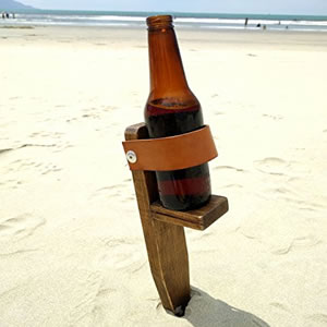 Wooden Beer Beach Holder Spike