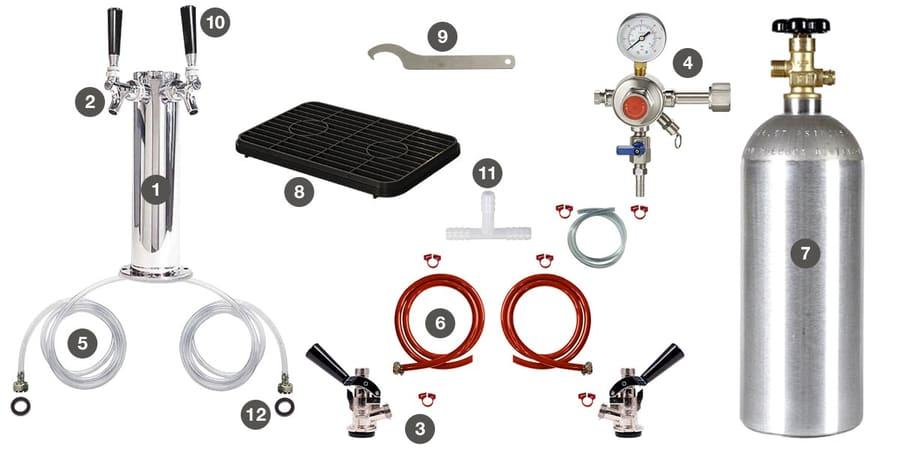 KC2000 Dual Tap Draft Component Kit Parts