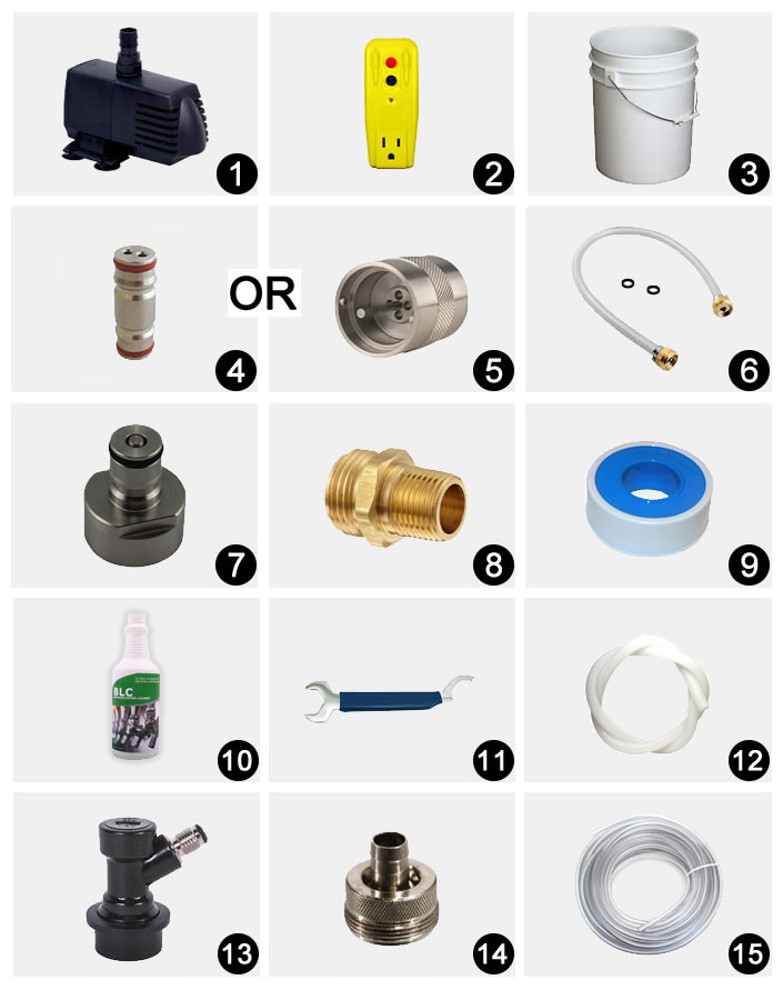 Kegerator Recirculating Cleaning Pump System Parts